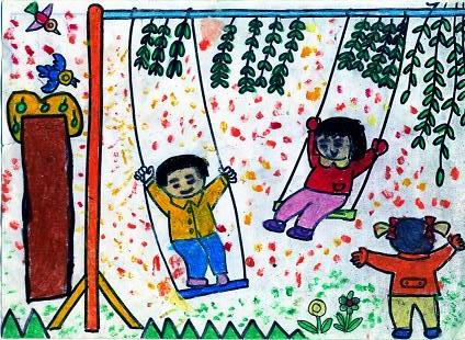 美术学画画魔法少女二年级简单_春天主题儿童绘画作品大全5书画廊快乐城堡